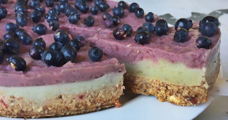 Torta Fredda alla Lavanda e Mirtilli Rossi – Dessert Vegan Senza Farina, Senza Zucchero, Senza Grassi